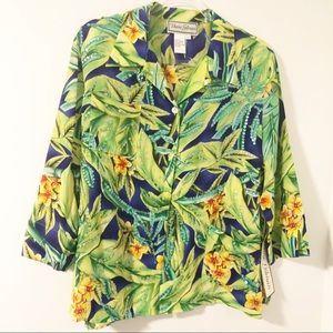 Vintage Bold Tropical Sequin 100% Silk Blouse